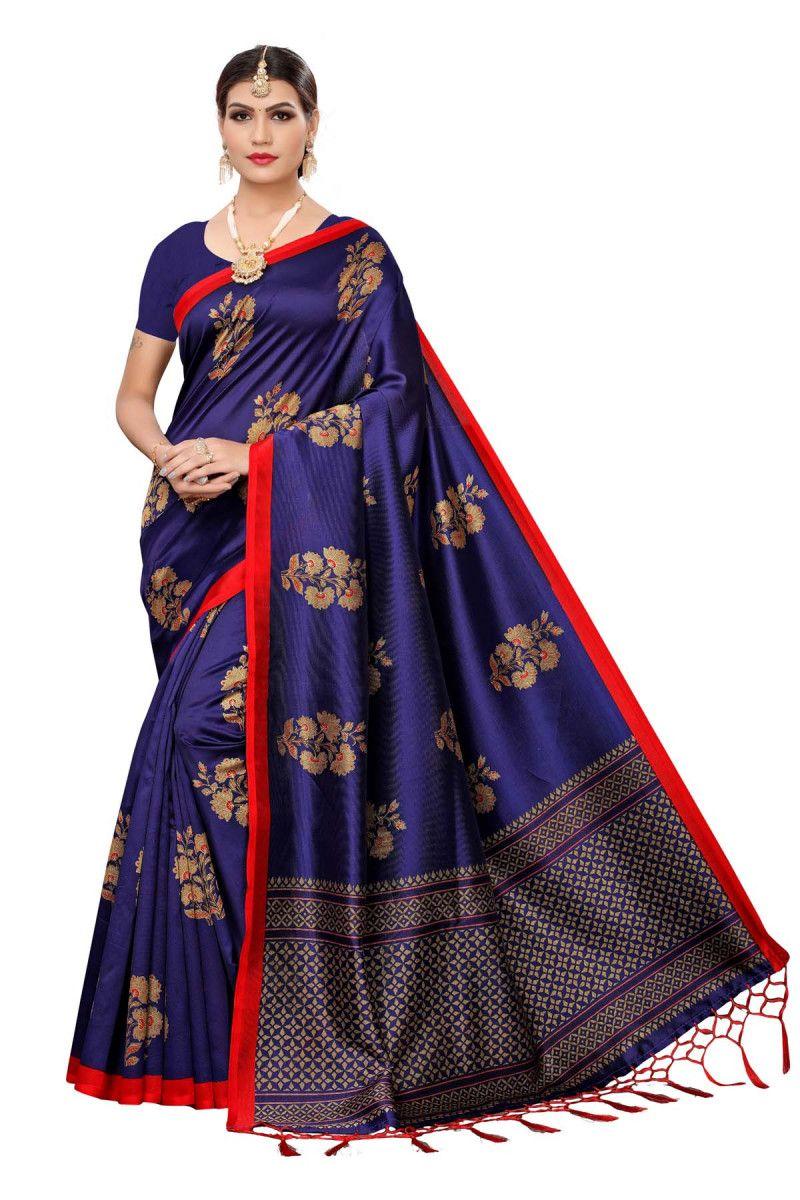 Lovely Navy Blue Color Festive Wear Maysor Silk Saree