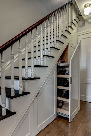 Traditional Staircase With Pull Out Storage Under Stairs Storage