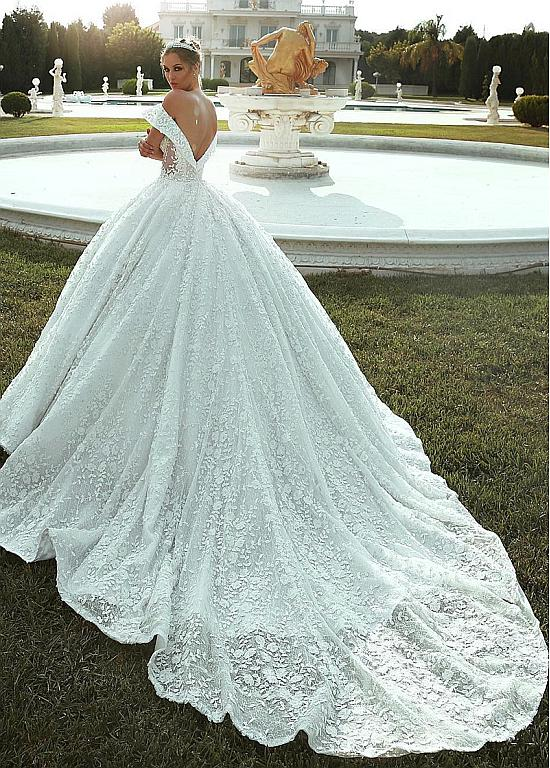 Photo of [235.20] Splendid Lace Off-the-shoulder Neckline Ball Gown Wedding Dresses With Lace Appliques & Beadings – magbridal.com.cn