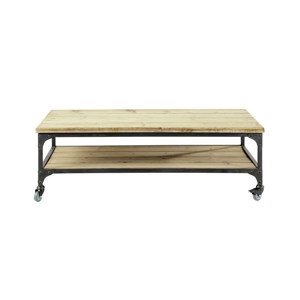 Mesa Baja Industrial Con Ruedas De Metal Y Abeto Table Basse Industrielle Table Basse Table Basse Blanche Design