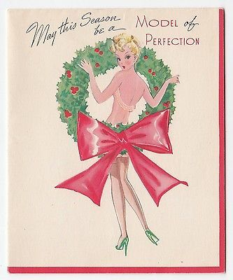 Vintage Greeting Card Christmas Risque Girl Lady Pin Up Model Wreath 1940s | eBay