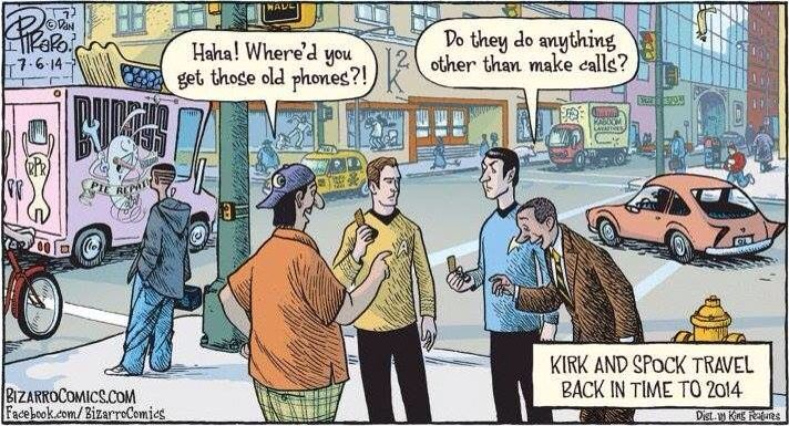 Kirk and Spock travel back in time to 2014.