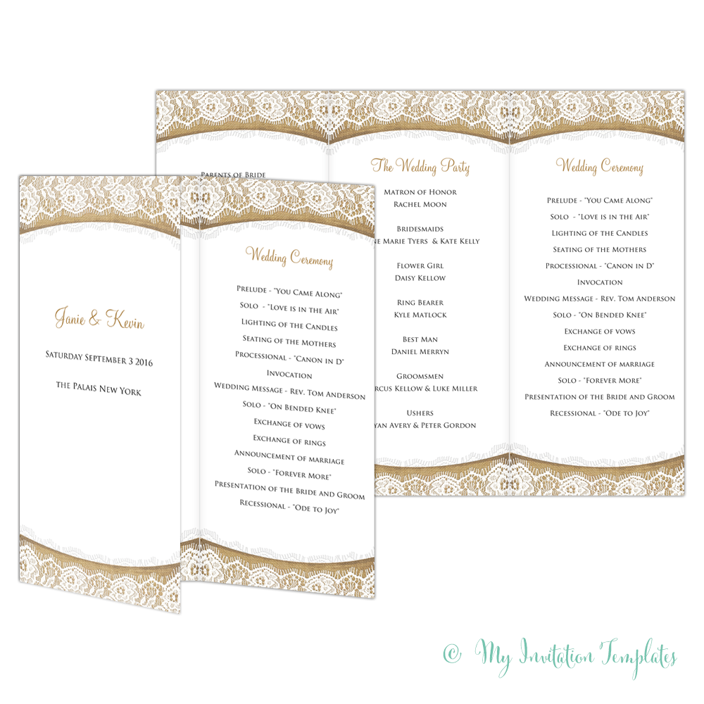 rustic wedding program template burlap and lace trifold wedding