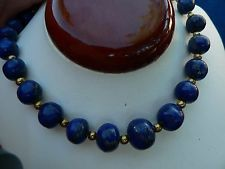 "Antique 14K Gold Large Lapis Lazuli Bead Necklace on 17"" Cable Chain"
