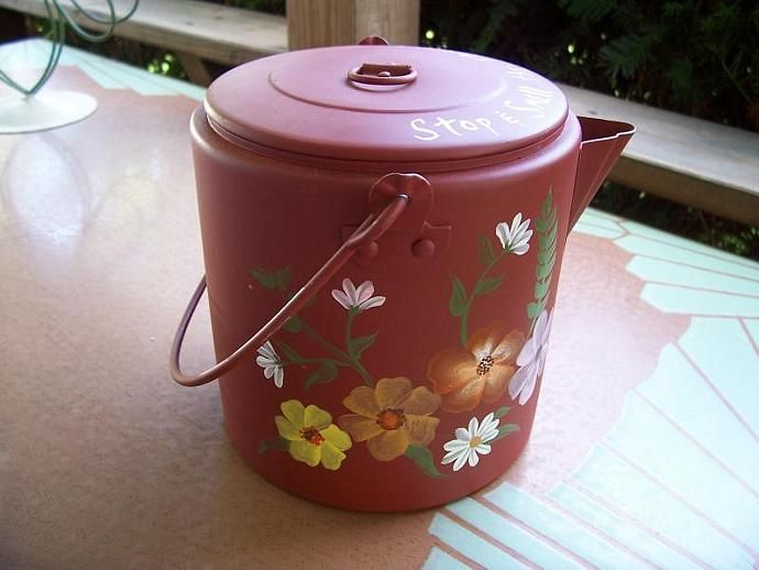 Flowered Camp Coffee Pot-Upcycled by monkmama54, $20.00 USD