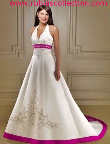White Wedding Dresses With Hot Pink Neck Line And Dress