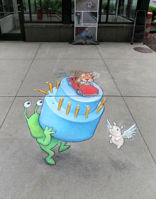 David Zinn - Happy 313 to the 313! Helping Detroit celebrate its birthday with a temporary underfoot mural. At Campus Martius Park. sluggoonthestreet.tumblr.com