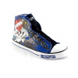Buty z wysoką cholewką ED HARDY MezczyźniKategoria:Obuwie Kolor(y):niebieski - czarnytkanina - inne materiałyszczególy:drukowany wzor, logo marki