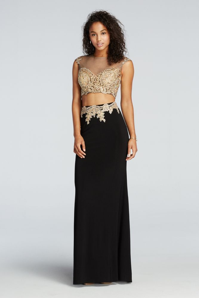 a6dc5051c402 Beaded Two Piece Illusion Prom Crop Top and Skirt - Black / Gold, XS ...