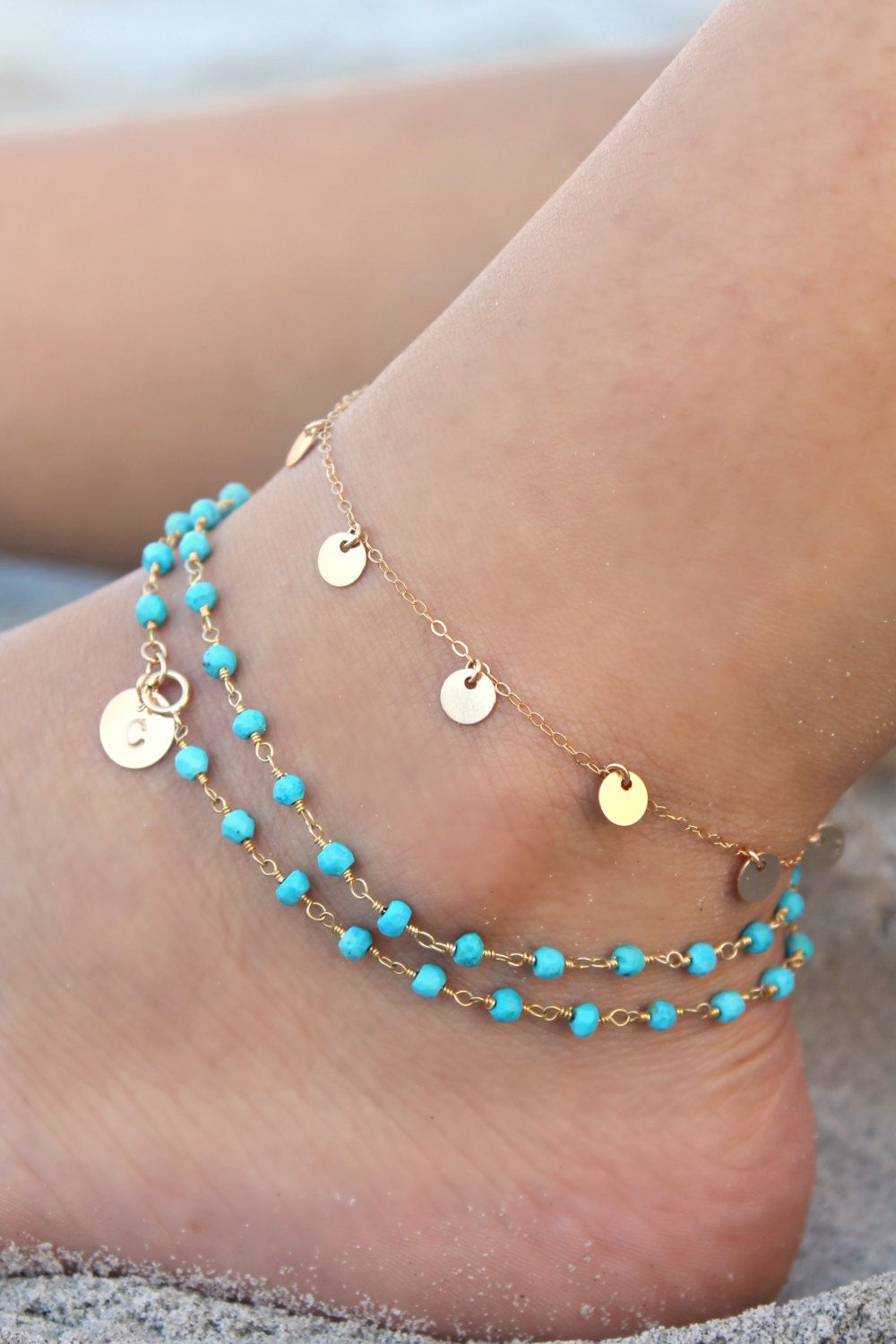 Layered Boho Chic ankle bracelet Personalized custom stamped initial disc circle Turquoise bead wrap ANKLET 14kt Gold filled,beach summer