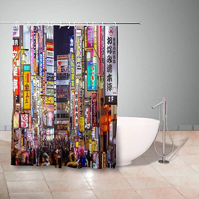 Gisruru Shower Curtains Set With Hooks 72 X 78 Inches Tokyo Japan March Densely Line Alleyway Kabuki Cho Area Shower Curtain Sets Bathroom Tub Shower Bathroom