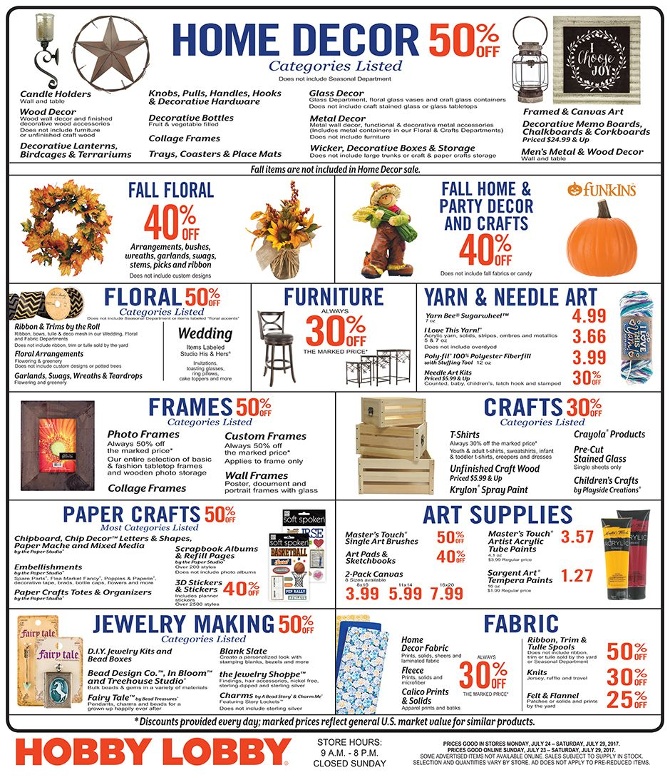 Pin by Suzette Pascuzzi on beach Hobby lobby weekly ad