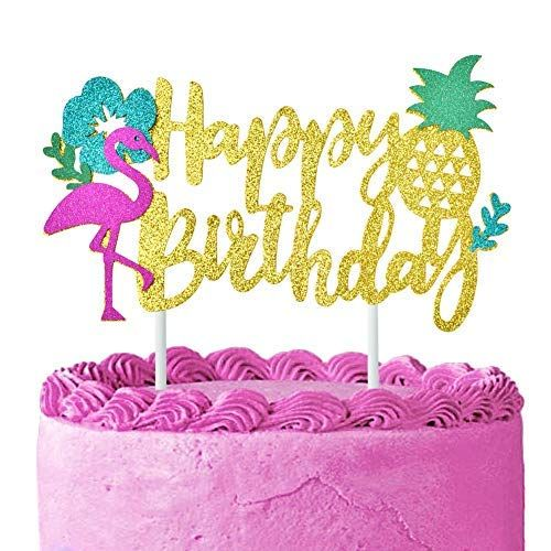 ANY NAME Happy Birthday Cake Topper Tropical Birthday Cake Topper Flamingo Pineapple Topper