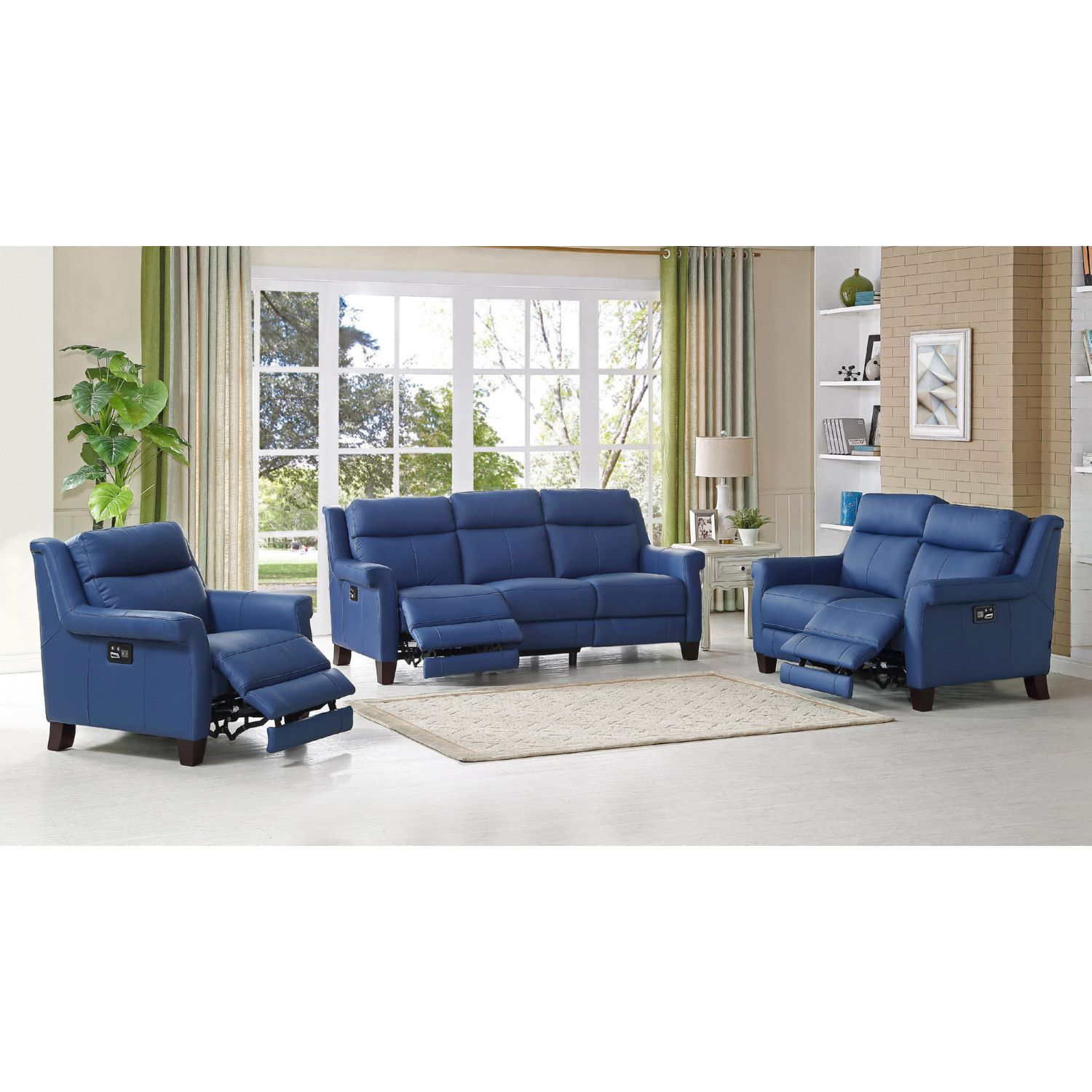 Amax Leather Dolceslc Dolce Power Reclining Sofa Loveseat Recliner Set In Blue Leather Sofa And Loveseat Set Living Room Leather Leather Living Room Set