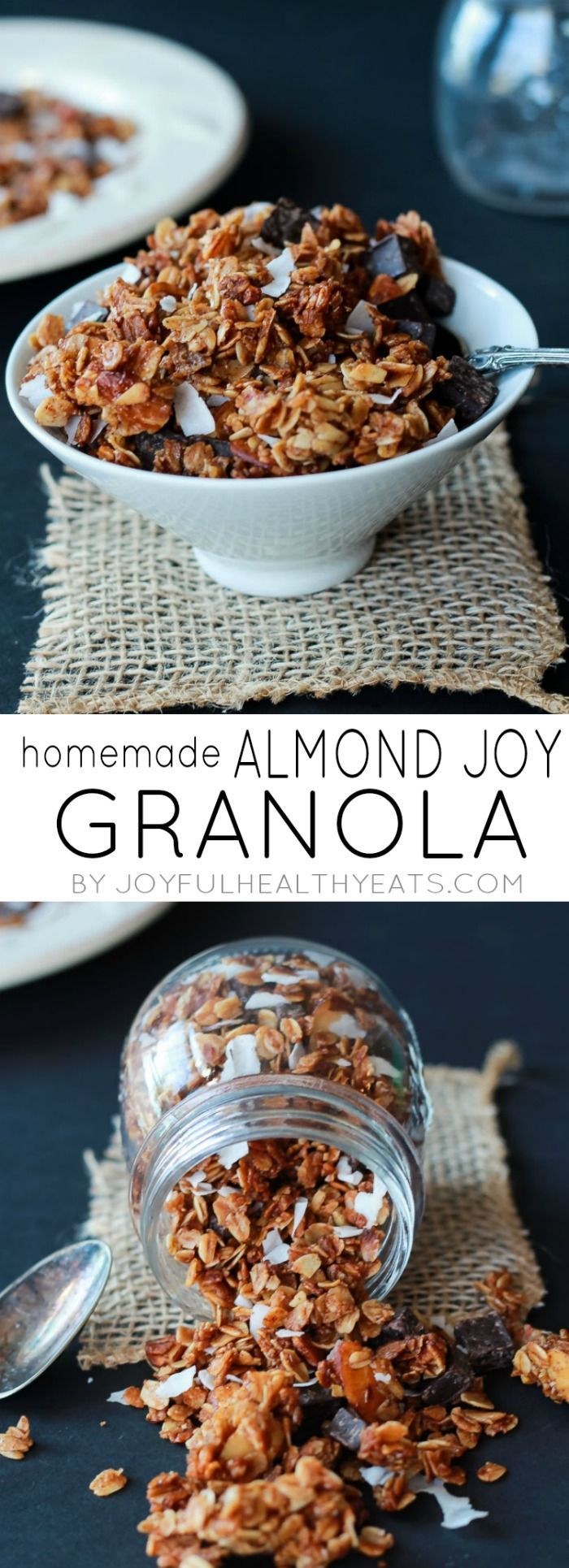 The Best Homemade Almond Joy Granola made in just 30 minutes! This stuff is like candy its so addicting. From the dark chocolate chunks, to the coconut flakes, and  the cinnamon toasted granola. You need this recipe! | joyfulhealthyeats.com #recipes