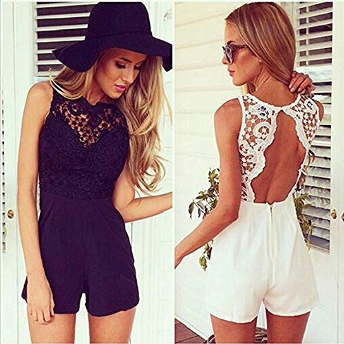 zeagoo damen jumpsuit sommer r ckfrei kurz spitze playsuit bodycon. Black Bedroom Furniture Sets. Home Design Ideas