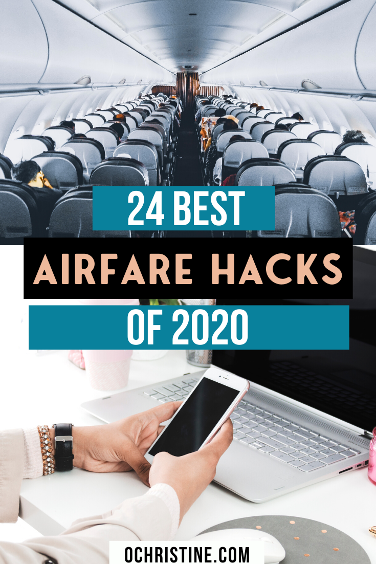 Are you always looking for the cheapest flights? Sharing my 24 Airfare Hacks for Finding the Best Fares and Cheap Flight Deals in 2020. I've compiled an epic list of airfare best practices, affordable flight tips, and budget travel advice to help you get great flight deals this year. #cheapflights #travelhack Travel Hacking | Flight Hacking | How to find cheap flights | Best Airfare hacks | Cheap Airfare |