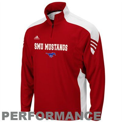 2b1c8766a $59.95 - Adidas SMU Mustangs Crimson Coaches Quarter Zip Pullover  Performance Jacket