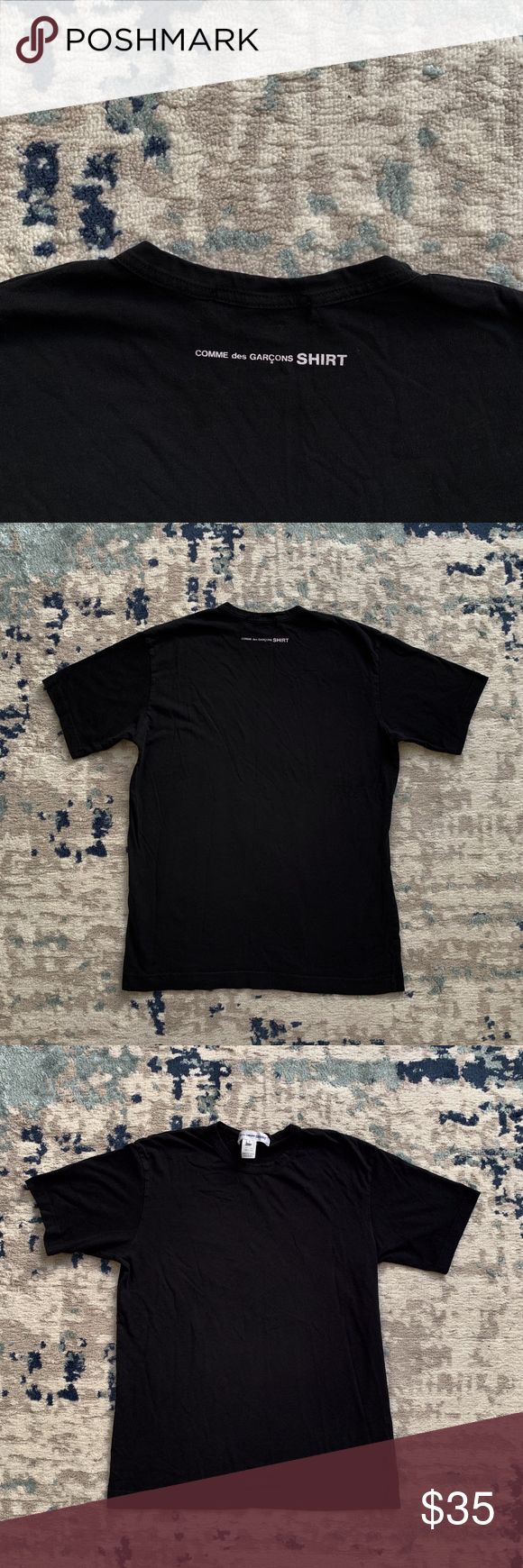 Comme Des Garcons Shirt T Shirt Black Back Logo L 100 Authentic Great Pre Owned Condition Washed Out Color Black Shirt Back To Black Comme Des Garcons Shirt