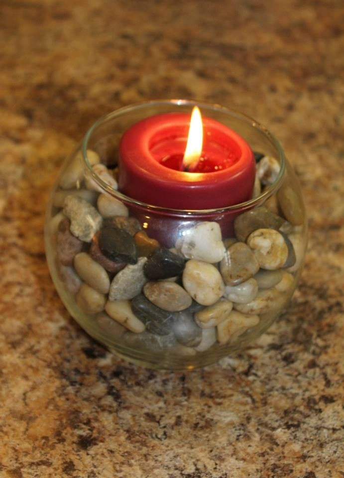 Dollar Store Decor Vase Decorative Rocks And A Candle