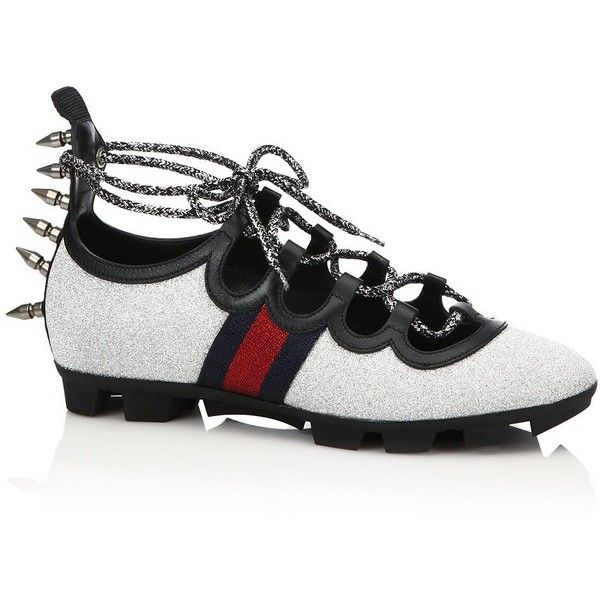 d7220f60163 Gucci Titan Spiked Glitter Web Sneakers ( 695) ❤ liked on Polyvore  featuring shoes