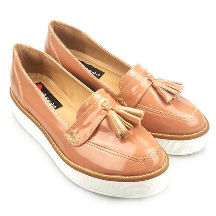 61557ae6a7 Mocassim Love Shoes Dockside Flat Bad Tratorado Franjas Verniz Pele - Marca  Love Shoes