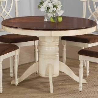 Check Out The Coaster Furniture 103180 Cameron Cottage Round Pedestal Dining  Table In Buttermilk And Dark