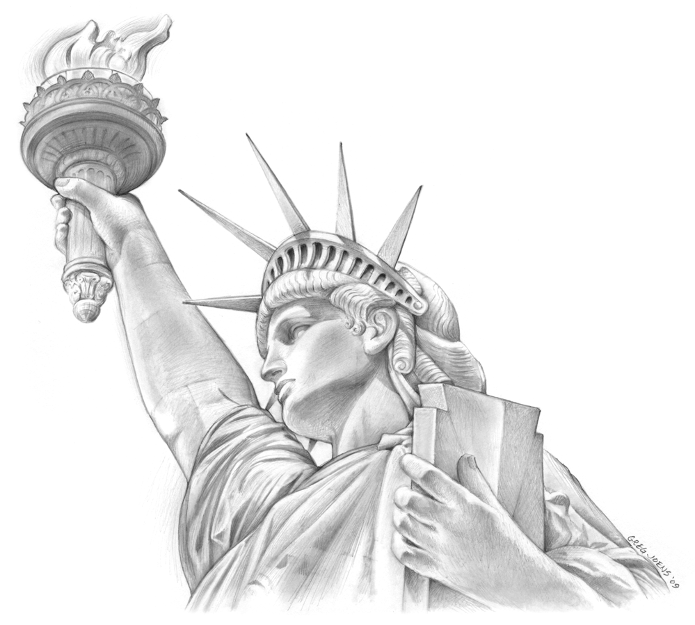 Pin by canvasone on joens art statue of liberty drawing statue of