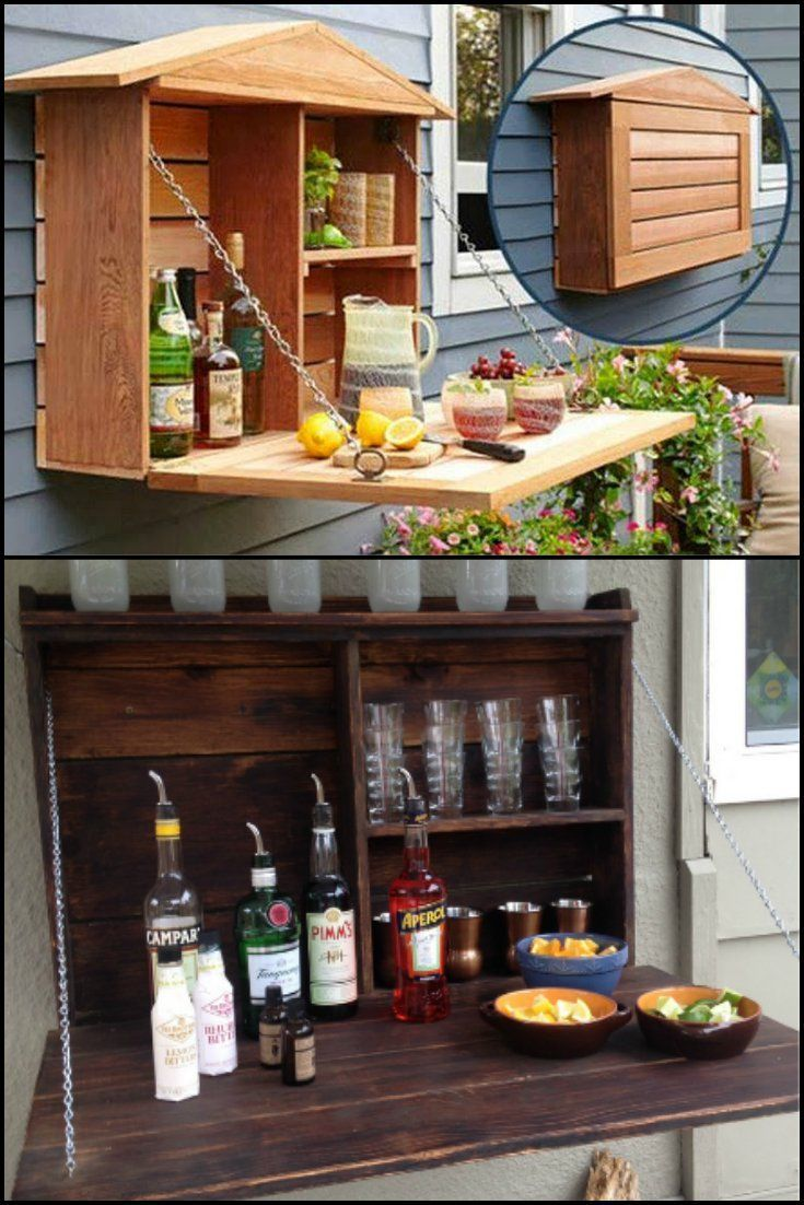 How to Build Your Own Fold-Down Murphy Bar  http://theownerbuildernetwork.co/easy-diy-projects/how-to-build-your-own-fold-down-murphy-bar/  Can't afford a full size bar for your outdoor living area? Why not build one of these fold-down murphy bar?