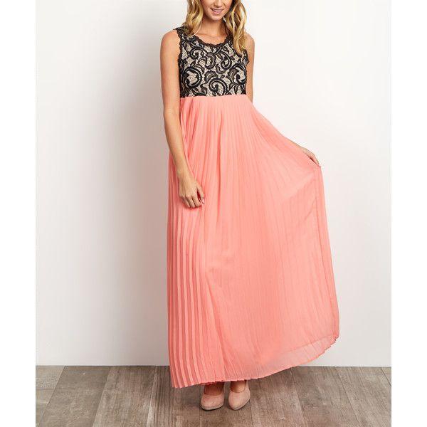 PinkBlush PinkBlush Coral Pleated Chiffon Lace Maxi Dress ($45) ❤ liked on Polyvore featuring dresses, gowns, red maxi dress, chiffon maxi dress, long evening gowns, long lace gown and long maxi dresses