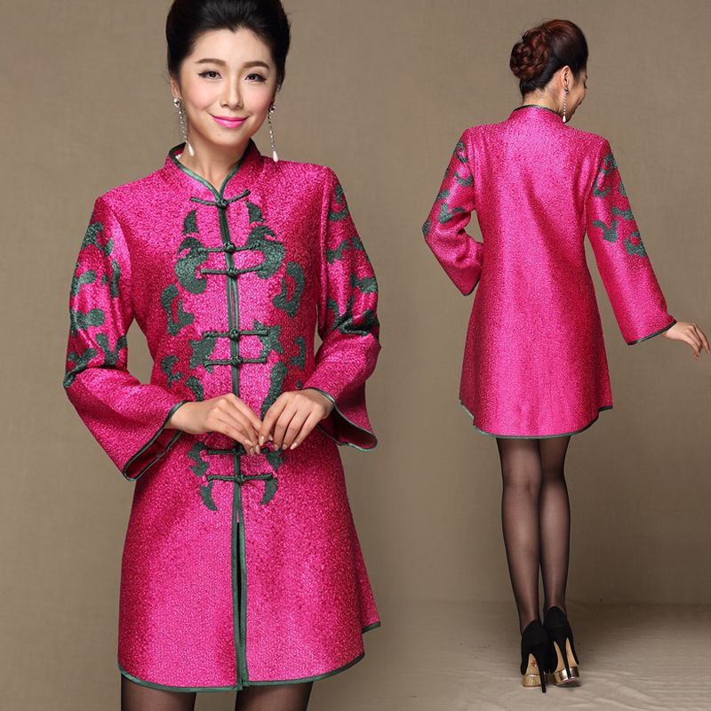 Long sleeve rose red and green wrinkled silk Chinese qipao tops