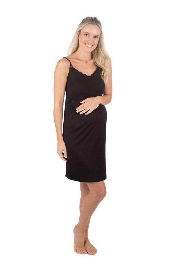 d2ba7b61752 Black Super Soft Maternity Nursing Nightgown Dress Chemise By Baby Be  Mine,Lace ,Hospital Bag Must H