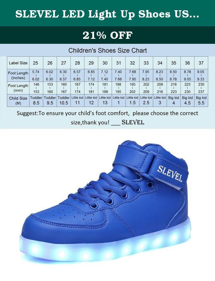 SLEVEL LED Light Up Shoes USB Flashing Sneakers for Kids Boys  Girls(SL98Blue27).