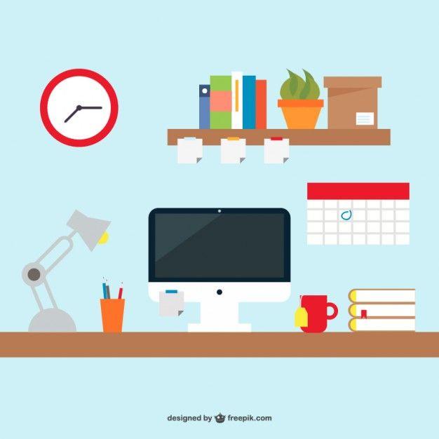Office Desk Simple Design Free Vector