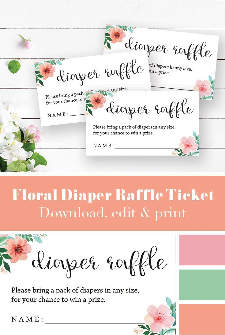 Floral Baby Shower Diaper Raffle Ticket Template Diaper Cakes