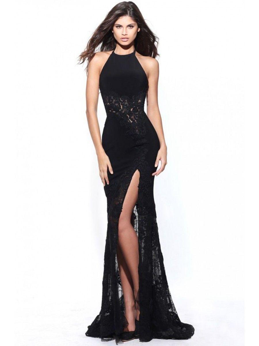 Long black halter lace prom formal evening dresses moda