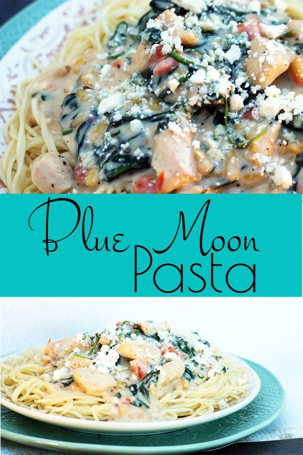 Blue Moon Pasta A Creamy And Delicious White Sauce With Feta And Blue Cheese Spinach Pine Nuts And Fresh Blue Cheese Recipes Pine Nuts Pasta Yummy Dinners