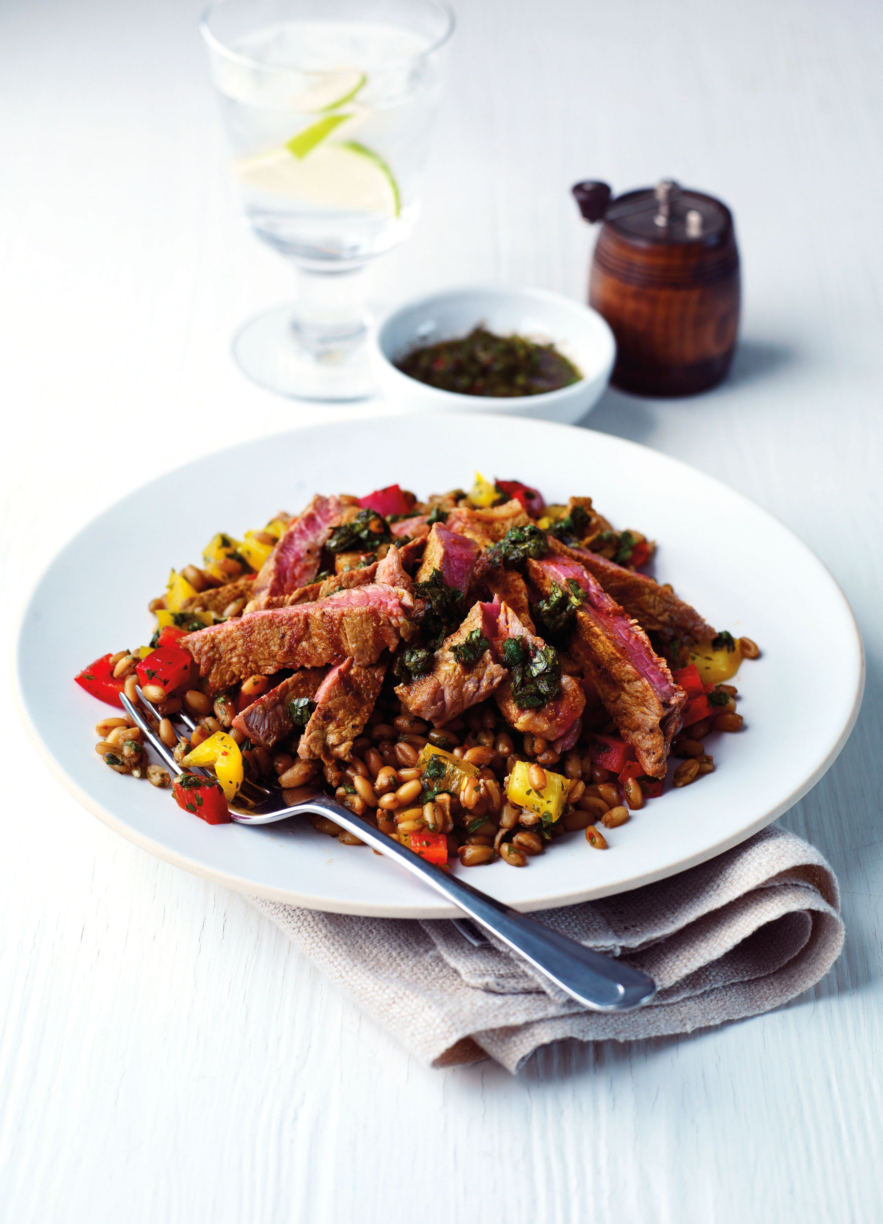 Aromatic Steak Salad with Freekeh and Chimichurri (Simply Beef + Lamb)