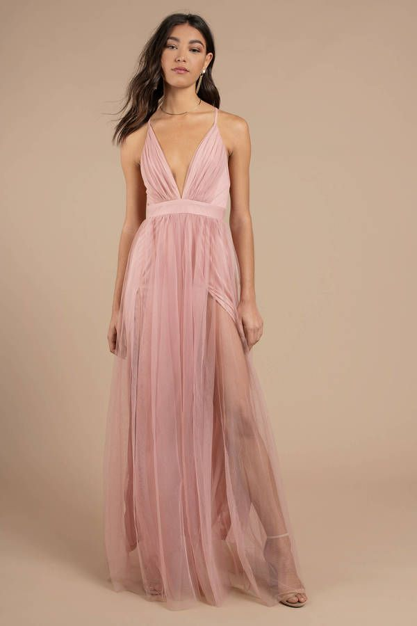 b5bc194469 Fit for any special occasion, the Here To Slay Blush Plunging Maxi Dress is  the answer to every party! Featuring a pleated tulle with a plunging neckl  # ...