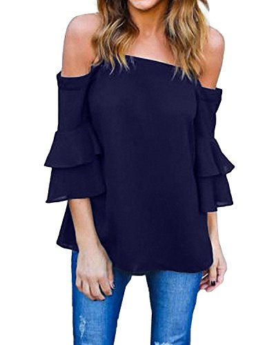 StyleDome Women Off Shoulder Blouse 34 Flared Ruffled Flounce Sleeve Shirts  Elegant Tee Tops Navy US * To view further for this item, visit the image  link.