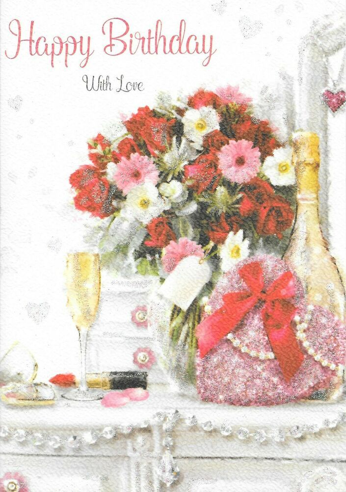 Female Happy Birthday Card Flowers Champagne 1st Class Post X7 Home Furniture Diy Celebrations Occasions Cards Stationery Ebay