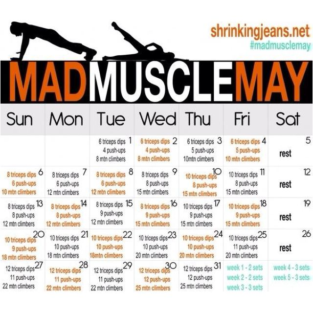 May workout calendar! Clearly May has passed but still a good add on