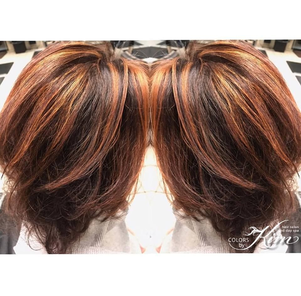 This wonderful friend of mine has baby fine hair that is thinning. We covered her gray with Redken's ammonia free Chromatics color to give vibrant tones without damage. We also highlighted and toned for added dimension.  Created by Stylist Kim www.colorsbykim.com