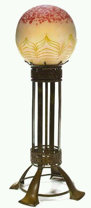Art Nouveau Bronze and Lobed Iridescent Glass Globe Lamp by Loetz, Austria
