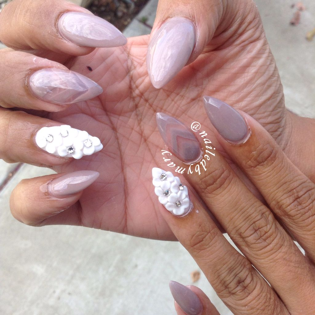 Taupe nude 3d nail art flowers stiletto acrylic nails | Nailed by ...