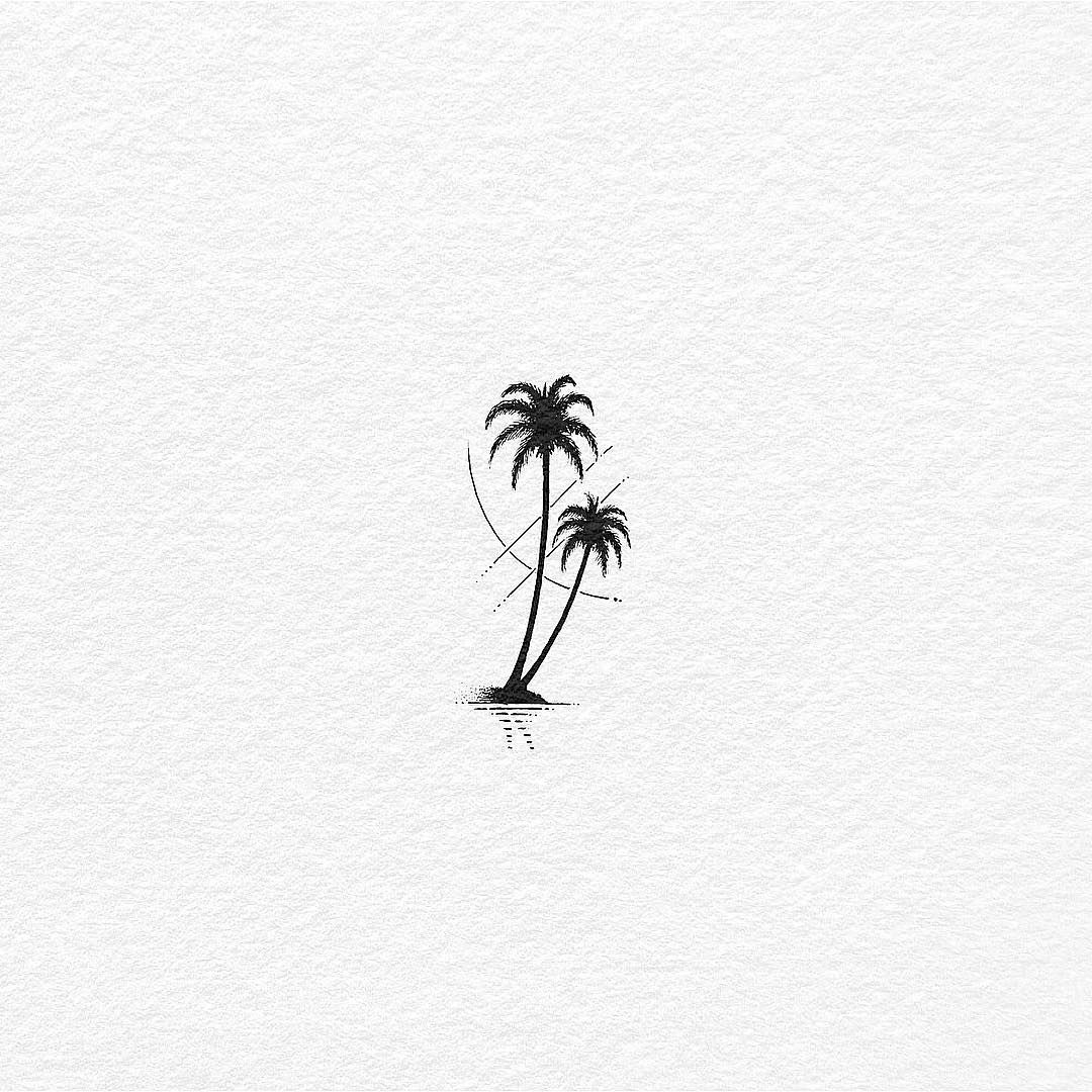 "Bali Tattoo By Bacht on Instagram: ""Coconut Trees by the Beach. The sun is up… ink on paper. . . . . . . #coconut #coconuttree #tatts #tattoo #tattoos #tattoolife…"""