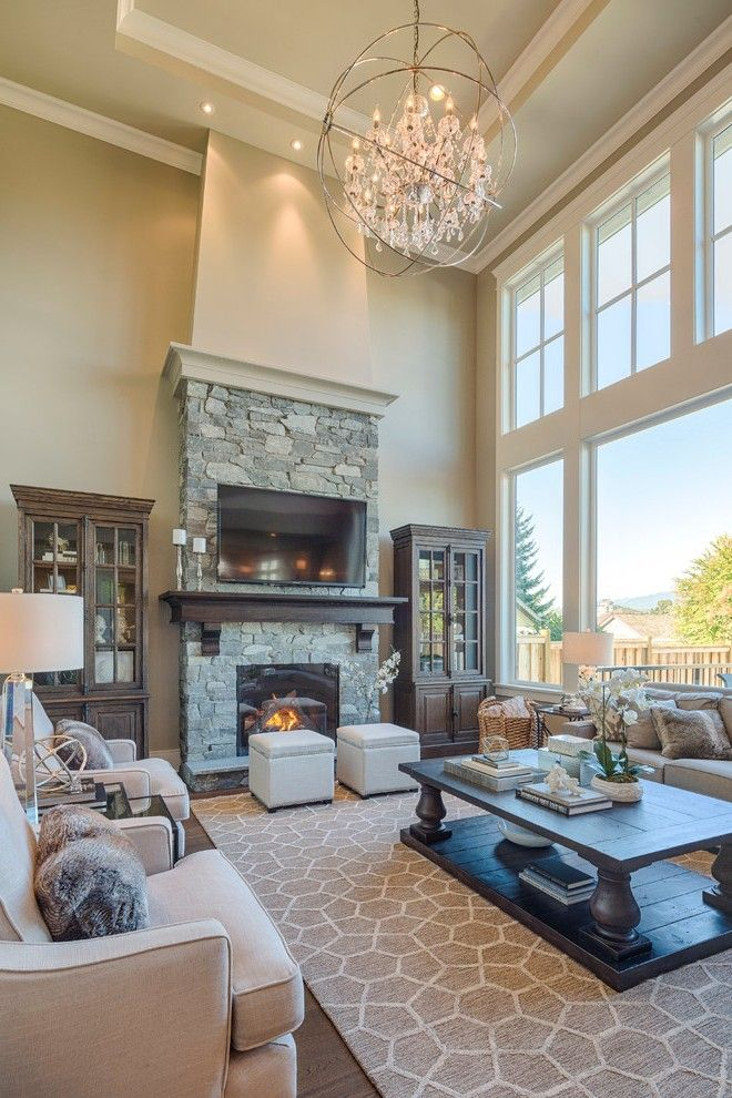 Magnificent Rustic Fireplaces Pictures With Two Story