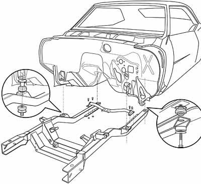 Exploded View Line Drawing Of Camaro Body And Sub Frame Parts