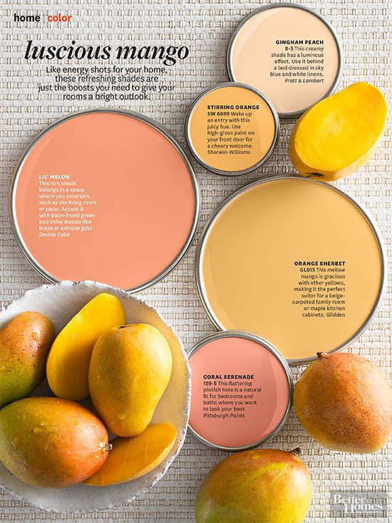 217e3eedfae4 Energize your home with these gorgous paint colors inspired by luscious  mangos. Get an iPad subscription and try out different wall colors.