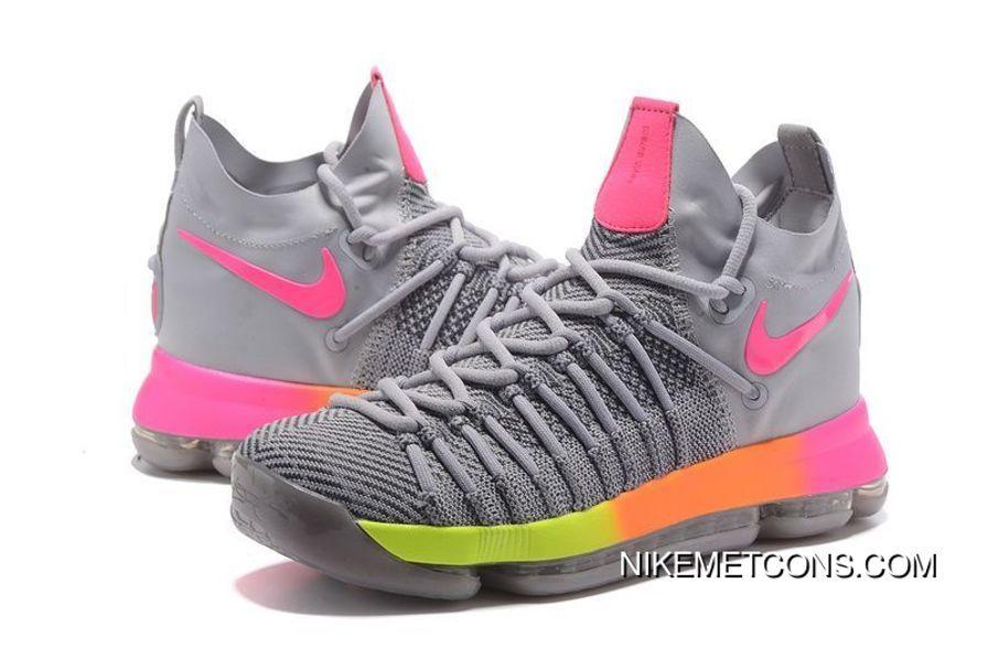 5dbc67e46a48 Nike Zoom KD 9 Elite Grey Pink Volt Orange Mens Size Free Shipping ...